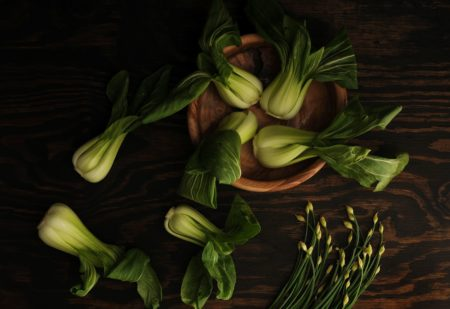 Chopping board with pak choi